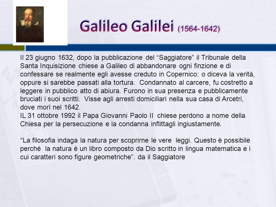 Il 23 giugno 1632, dopo la pubblicazione del Saggiatore il Tribunale della Santa Inquisizione chiese a Galileo di abbandonare ogni finzione e di confe