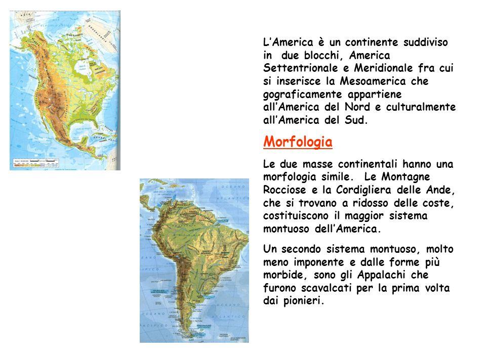 LAmerica è un continente suddiviso in due blocchi, America Settentrionale e Meridionale fra cui si inserisce la Mesoamerica che gograficamente appartiene allAmerica del Nord e culturalmente allAmerica del Sud.