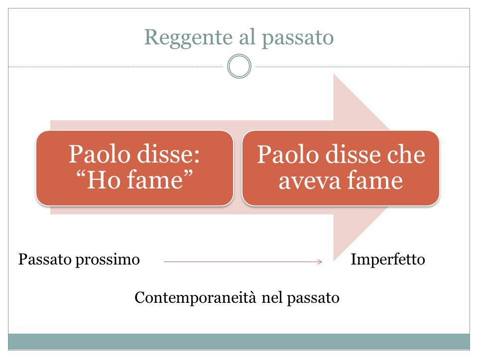 Reggente al passato Paolo disse: Ho fame Paolo disse che aveva fame Passato prossimo Imperfetto Contemporaneità nel passato