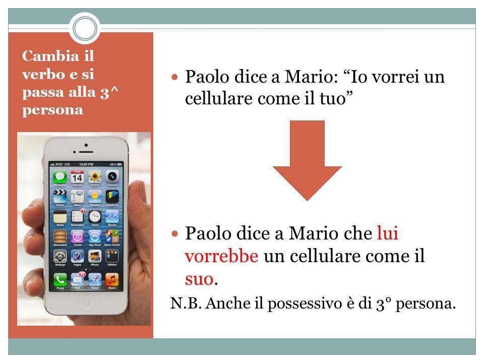 Cambia il verbo e si passa alla 3^ persona Paolo dice a Mario: Io vorrei un cellulare come il tuo Paolo dice a Mario che lui vorrebbe un cellulare com