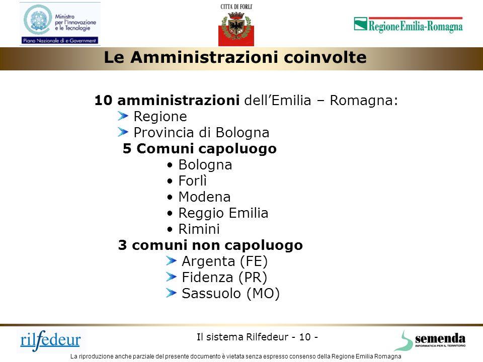 La riproduzione anche parziale del presente documento è vietata senza espresso consenso della Regione Emilia Romagna Il sistema Rilfedeur - 10 - Le Am