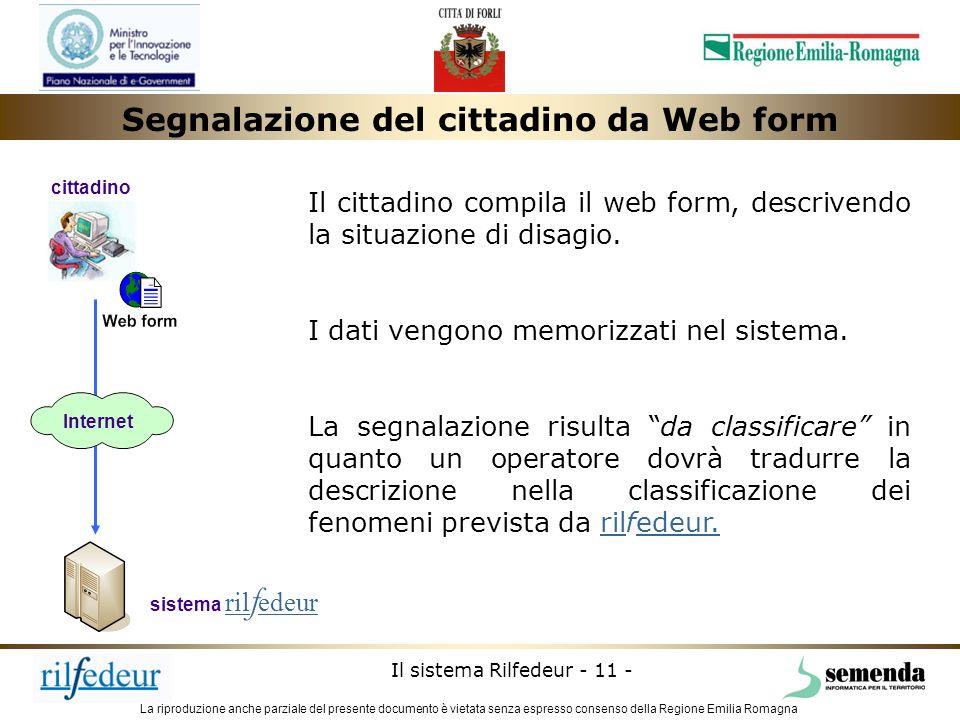 La riproduzione anche parziale del presente documento è vietata senza espresso consenso della Regione Emilia Romagna Il sistema Rilfedeur - 11 - siste