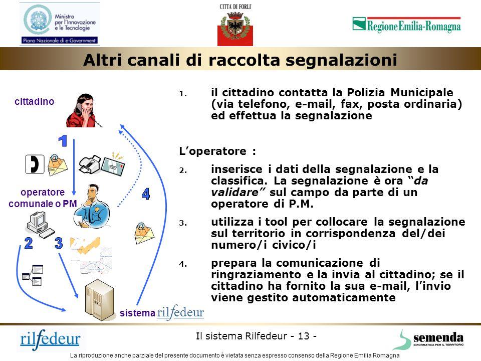 La riproduzione anche parziale del presente documento è vietata senza espresso consenso della Regione Emilia Romagna Il sistema Rilfedeur - 13 - opera