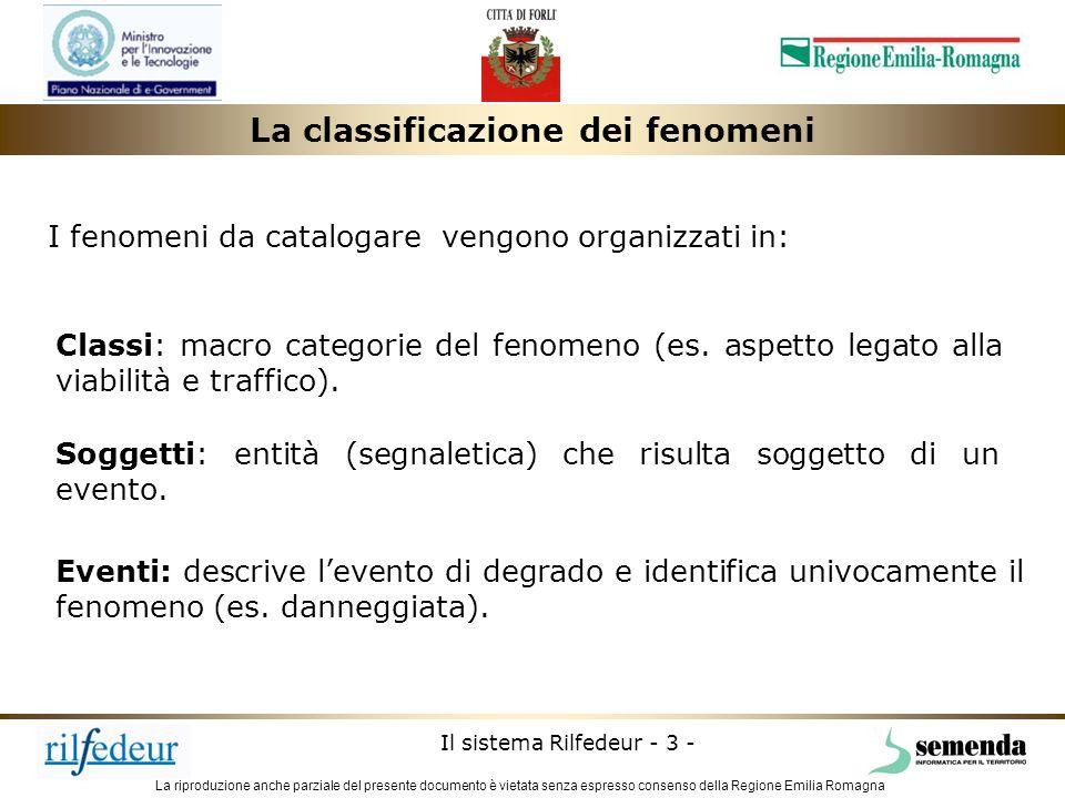 La riproduzione anche parziale del presente documento è vietata senza espresso consenso della Regione Emilia Romagna Il sistema Rilfedeur - 4 - Aspetti sociali La classificazione dei fenomeni