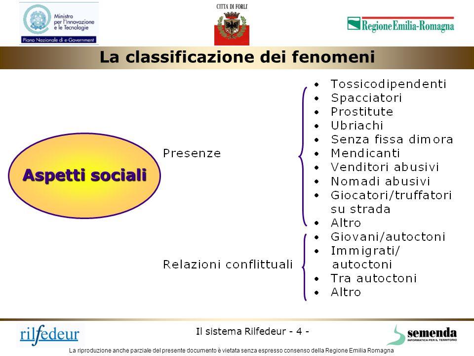 La riproduzione anche parziale del presente documento è vietata senza espresso consenso della Regione Emilia Romagna Il sistema Rilfedeur - 4 - Aspett