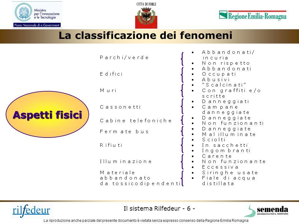 La riproduzione anche parziale del presente documento è vietata senza espresso consenso della Regione Emilia Romagna Il sistema Rilfedeur - 7 - Cosè il sistema rilfedeur rilfedeur è un sistema GIS a supporto della Polizia Municipale nella gestione e monitoraggio del degrado urbano.
