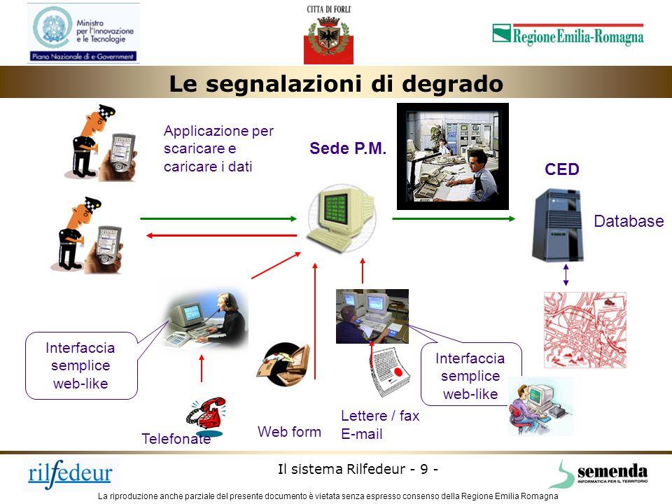 La riproduzione anche parziale del presente documento è vietata senza espresso consenso della Regione Emilia Romagna Il sistema Rilfedeur - 9 - Sede P