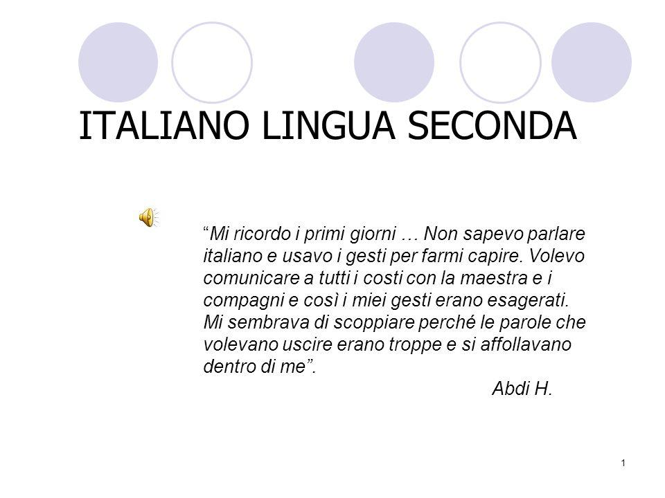 1 ITALIANO LINGUA SECONDA Mi ricordo i primi giorni … Non sapevo parlare italiano e usavo i gesti per farmi capire. Volevo comunicare a tutti i costi