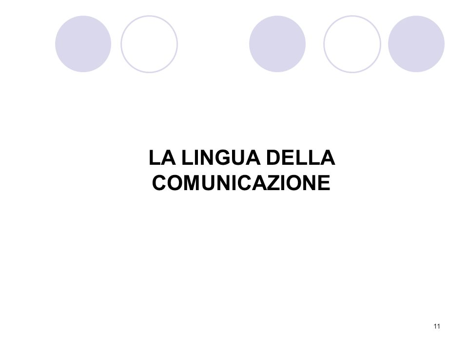 11 LA LINGUA DELLA COMUNICAZIONE