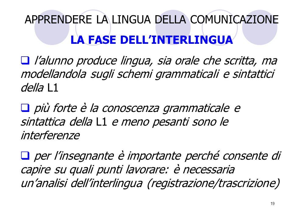19 APPRENDERE LA LINGUA DELLA COMUNICAZIONE LA FASE DELLINTERLINGUA lalunno produce lingua, sia orale che scritta, ma modellandola sugli schemi gramma