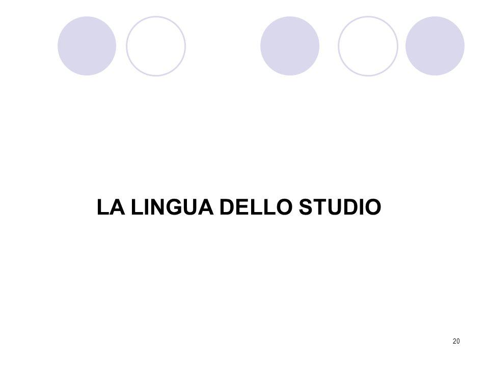 20 LA LINGUA DELLO STUDIO