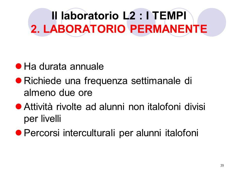39 Il laboratorio L2 : I TEMPI 2. LABORATORIO PERMANENTE Ha durata annuale Richiede una frequenza settimanale di almeno due ore Attività rivolte ad al