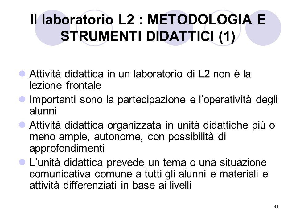 41 Il laboratorio L2 : METODOLOGIA E STRUMENTI DIDATTICI (1) Attività didattica in un laboratorio di L2 non è la lezione frontale Importanti sono la p