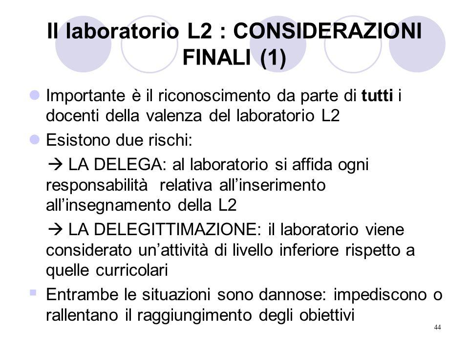 44 Il laboratorio L2 : CONSIDERAZIONI FINALI (1) Importante è il riconoscimento da parte di tutti i docenti della valenza del laboratorio L2 Esistono