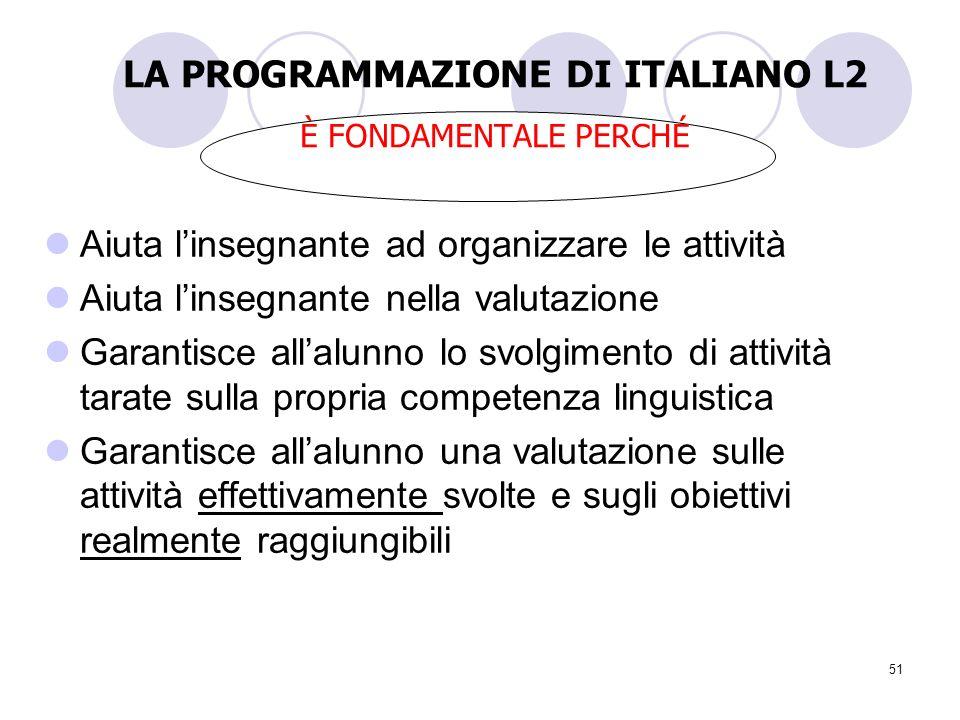 51 LA PROGRAMMAZIONE DI ITALIANO L2 È FONDAMENTALE PERCHÉ Aiuta linsegnante ad organizzare le attività Aiuta linsegnante nella valutazione Garantisce
