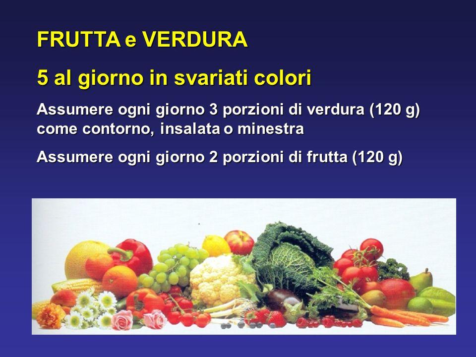 FRUTTA e VERDURA 5 al giorno in svariati colori Assumere ogni giorno 3 porzioni di verdura (120 g) come contorno, insalata o minestra Assumere ogni giorno 2 porzioni di frutta (120 g)