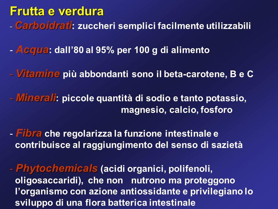Frutta e verdura - Carboidrati - Carboidrati : zuccheri semplici facilmente utilizzabili - cqua - Acqua : dall80 al 95% per 100 g di alimento - Vitamine - Vitamine più abbondanti sono il beta-carotene, B e C - Minerali : - Minerali : piccole quantità di sodio e tanto potassio, magnesio, calcio, fosforo - ibra - Fibra che regolarizza la funzione intestinale e contribuisce al raggiungimento del senso di sazietà - Phytochemicals - Phytochemicals (acidi organici, polifenoli, oligosaccaridi), che non nutrono ma proteggono lorganismo con azione antiossidante e privilegiano lo sviluppo di una flora batterica intestinale