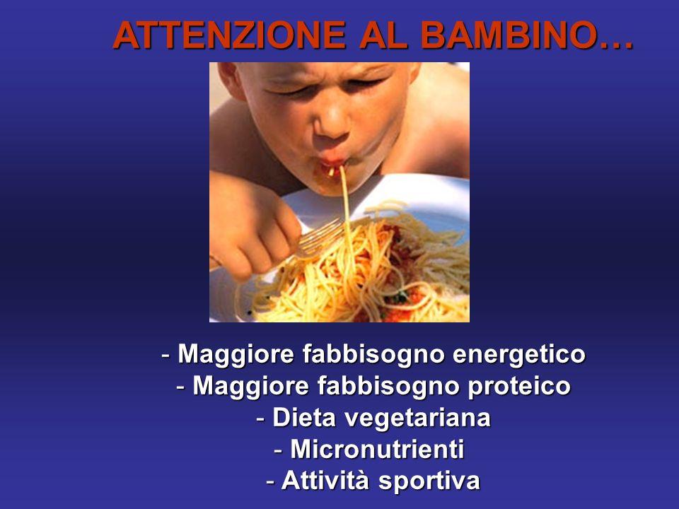 ATTENZIONE AL BAMBINO… - Maggiore fabbisogno energetico - Maggiore fabbisogno proteico - Dieta vegetariana - Micronutrienti - Attività sportiva