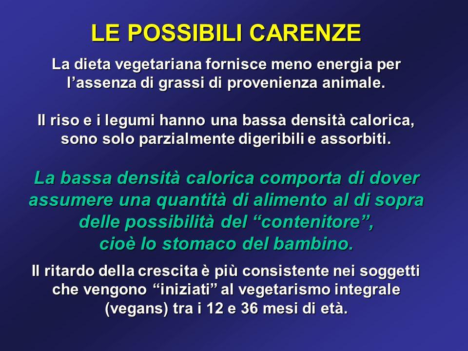 LE POSSIBILI CARENZE La dieta vegetariana fornisce meno energia per lassenza di grassi di provenienza animale.