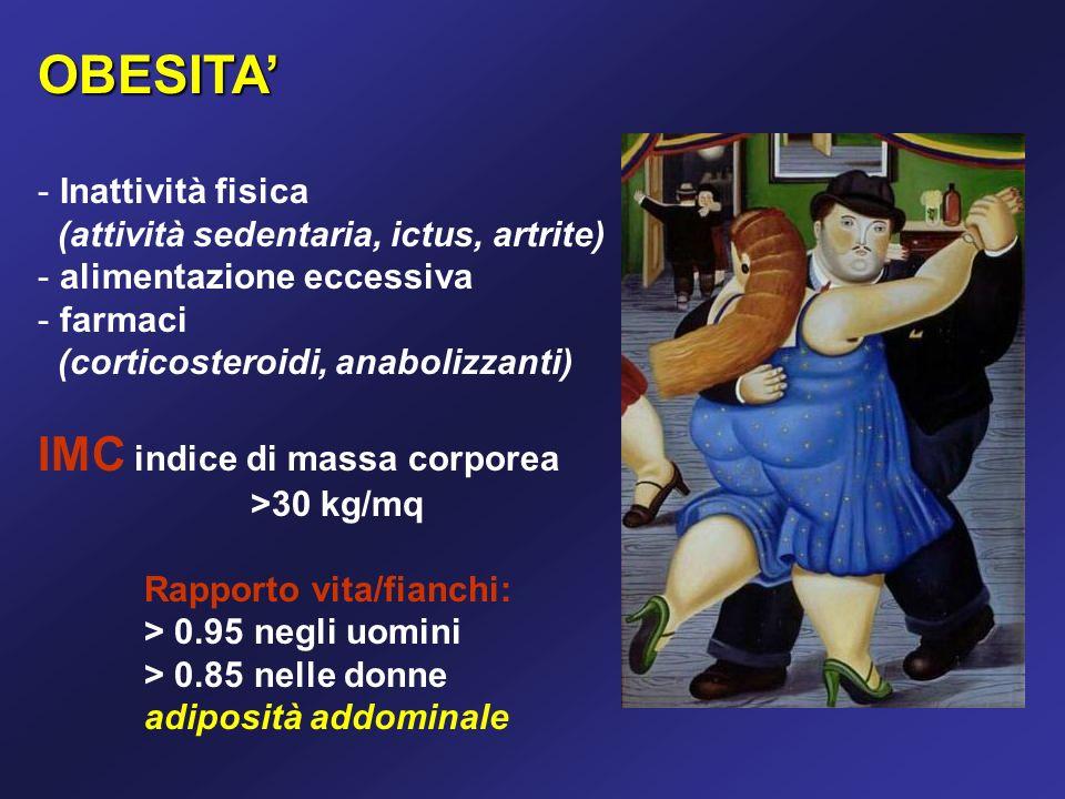 OBESITA - - Inattività fisica (attività sedentaria, ictus, artrite) - - alimentazione eccessiva - - farmaci (corticosteroidi, anabolizzanti) IMC indice di massa corporea >30 kg/mq Rapporto vita/fianchi: > 0.95 negli uomini > 0.85 nelle donne adiposità addominale