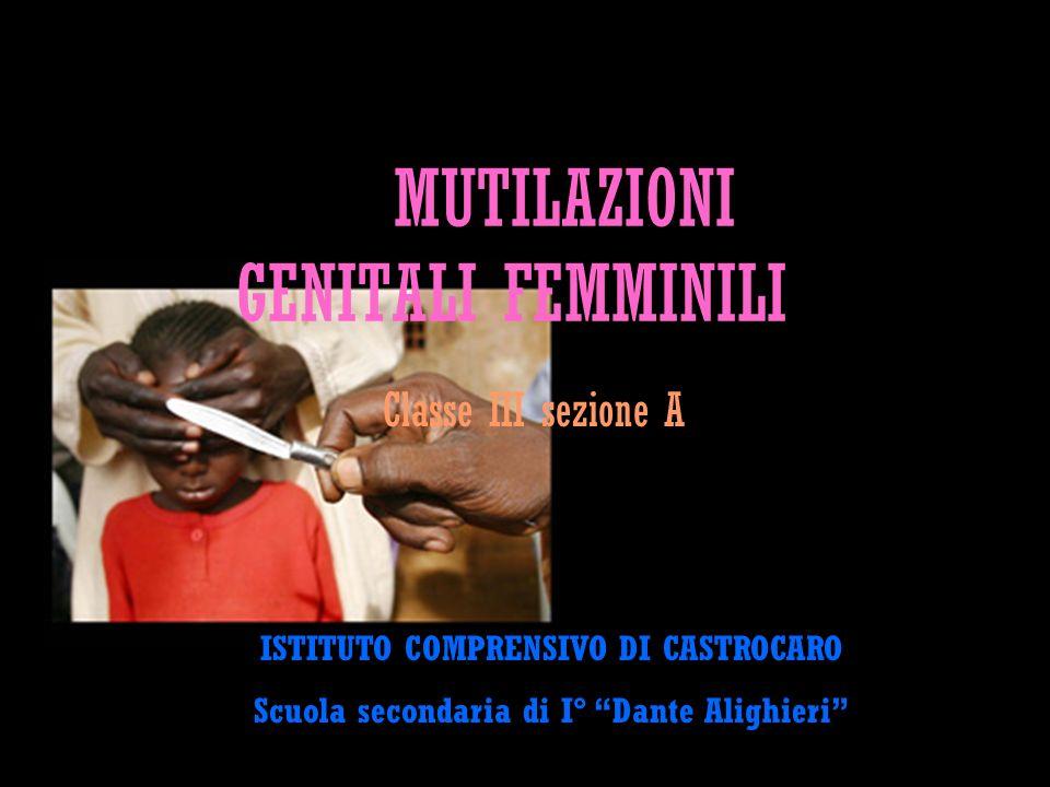 MUTILAZIONI GENITALI FEMMINILI Classe III sezione A ISTITUTO COMPRENSIVO DI CASTROCARO Scuola secondaria di I° Dante Alighieri