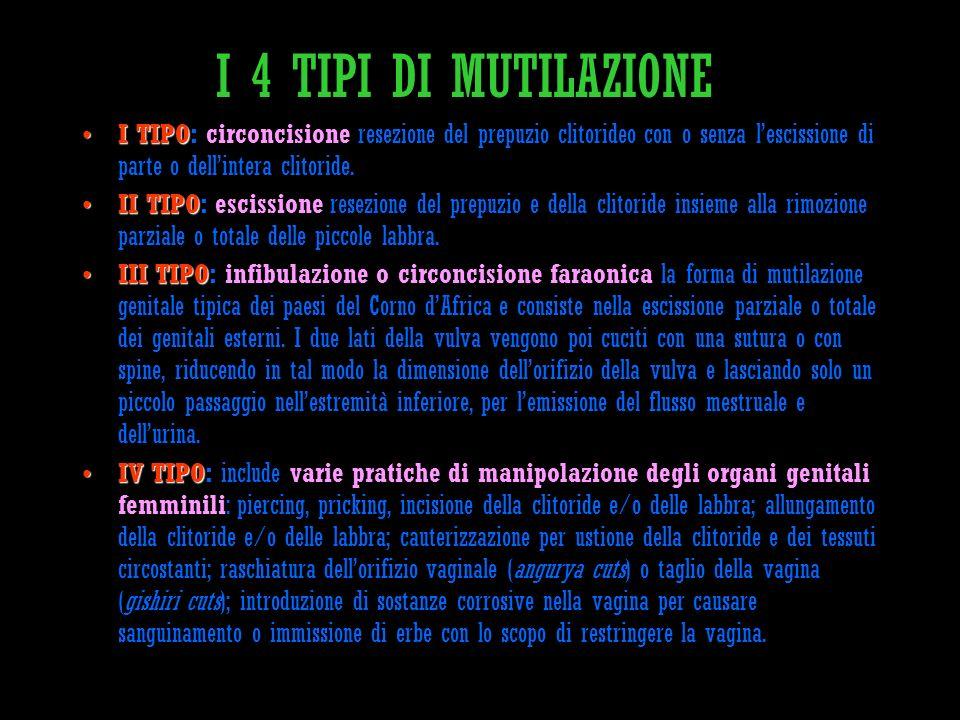 I 4 TIPI DI MUTILAZIONE I TIPOI TIPO: circoncisione resezione del prepuzio clitorideo con o senza lescissione di parte o dellintera clitoride. II TIPO