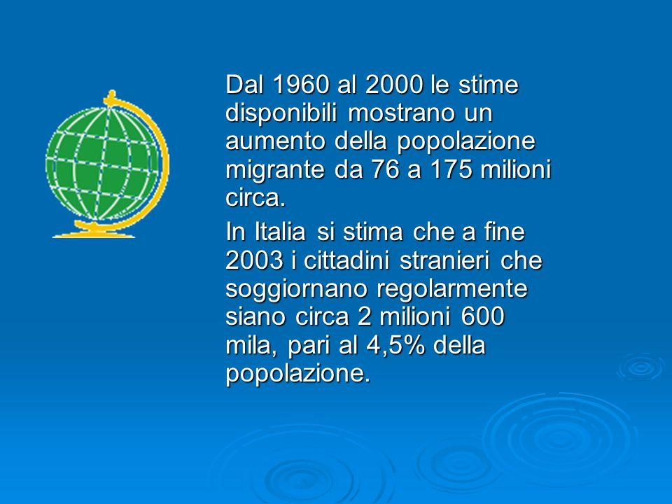 Dal 1960 al 2000 le stime disponibili mostrano un aumento della popolazione migrante da 76 a 175 milioni circa. In Italia si stima che a fine 2003 i c