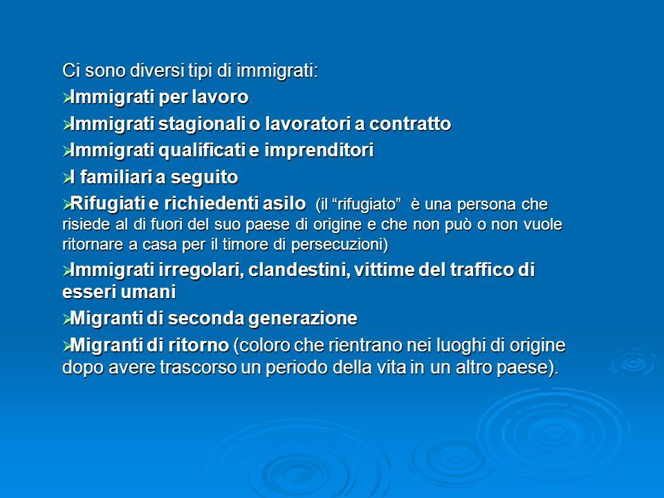 Ci sono diversi tipi di immigrati: Immigrati per lavoro Immigrati per lavoro Immigrati stagionali o lavoratori a contratto Immigrati stagionali o lavo