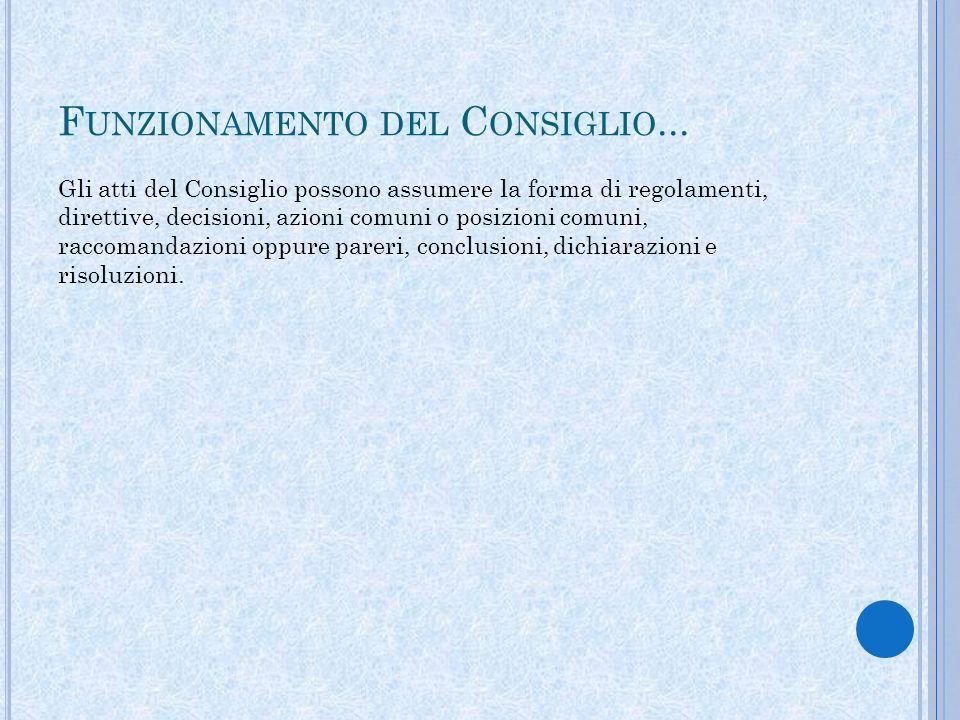 F UNZIONAMENTO DEL C ONSIGLIO...