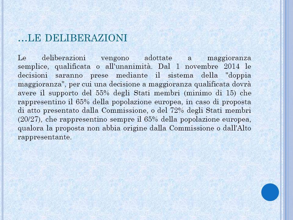... LE DELIBERAZIONI Le deliberazioni vengono adottate a maggioranza semplice, qualificata o all'unanimità. Dal 1 novembre 2014 le decisioni saranno p