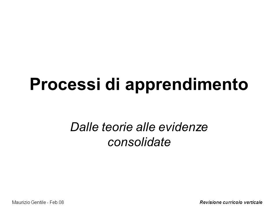 Revisione curricolo verticaleMaurizio Gentile - Feb.08 Processi di apprendimento Dalle teorie alle evidenze consolidate