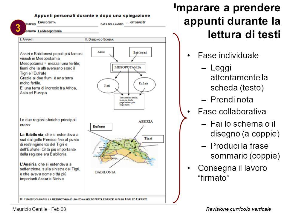 Revisione curricolo verticale 13 Maurizio Gentile - Feb.08 Imparare a prendere appunti durante la lettura di testi Fase individuale –Leggi attentament