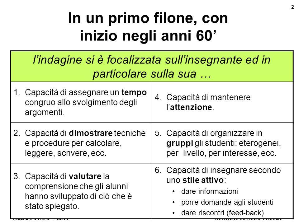 Revisione curricolo verticale 2 Maurizio Gentile - Feb.08 In un primo filone, con inizio negli anni 60 lindagine si è focalizzata sullinsegnante ed in