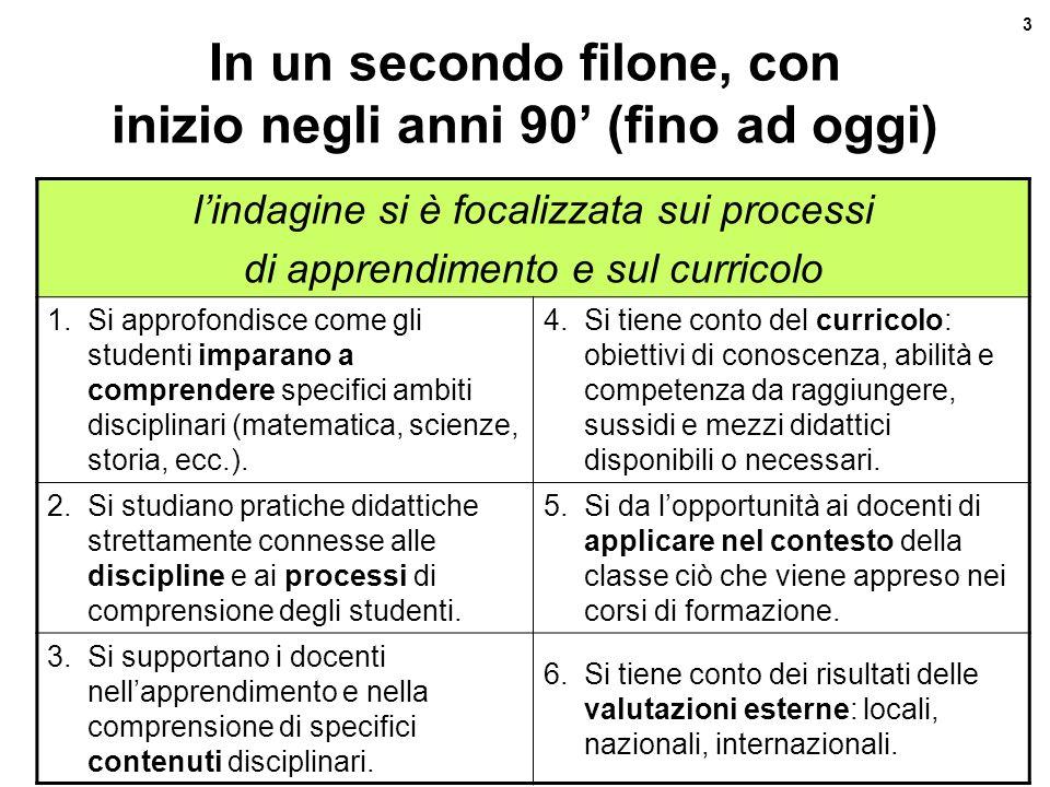 Revisione curricolo verticale 3 Maurizio Gentile - Feb.08 In un secondo filone, con inizio negli anni 90 (fino ad oggi) lindagine si è focalizzata sui
