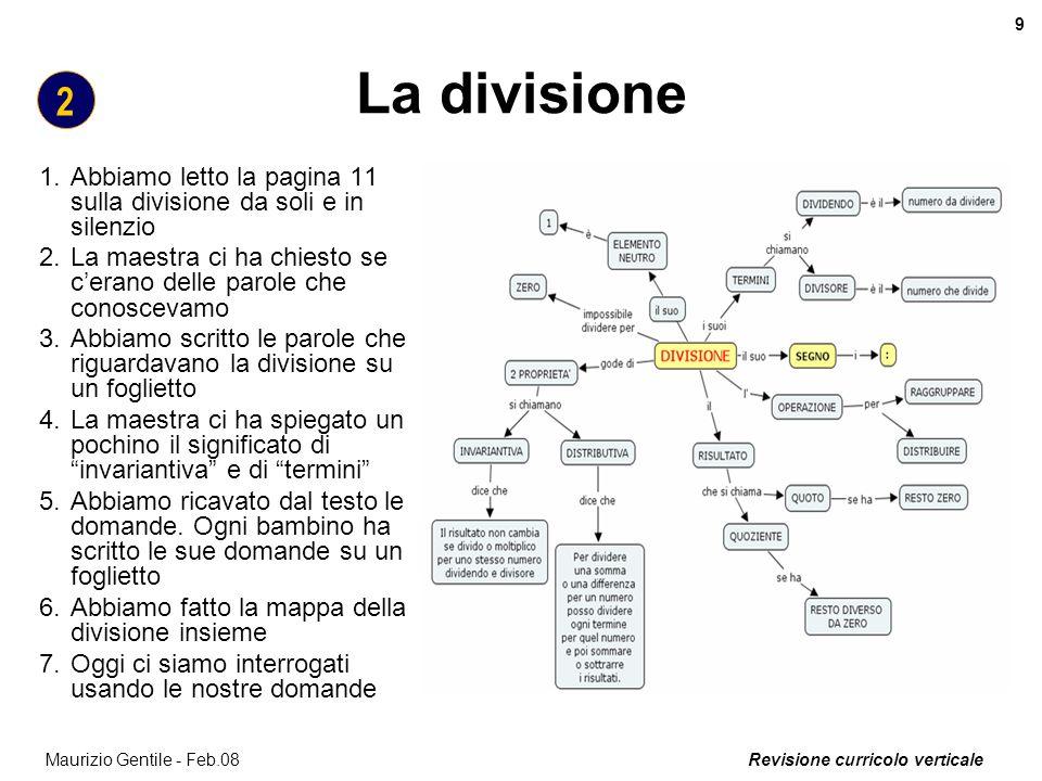Revisione curricolo verticale 9 Maurizio Gentile - Feb.08 La divisione 1.Abbiamo letto la pagina 11 sulla divisione da soli e in silenzio 2.La maestra