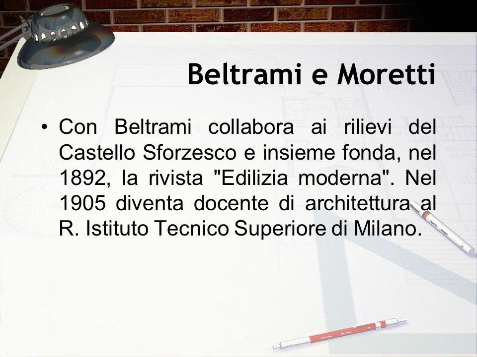 Beltrami e Moretti Con Beltrami collabora ai rilievi del Castello Sforzesco e insieme fonda, nel 1892, la rivista