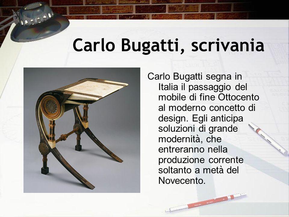 Carlo Bugatti, scrivania Carlo Bugatti segna in Italia il passaggio del mobile di fine Ottocento al moderno concetto di design. Egli anticipa soluzion