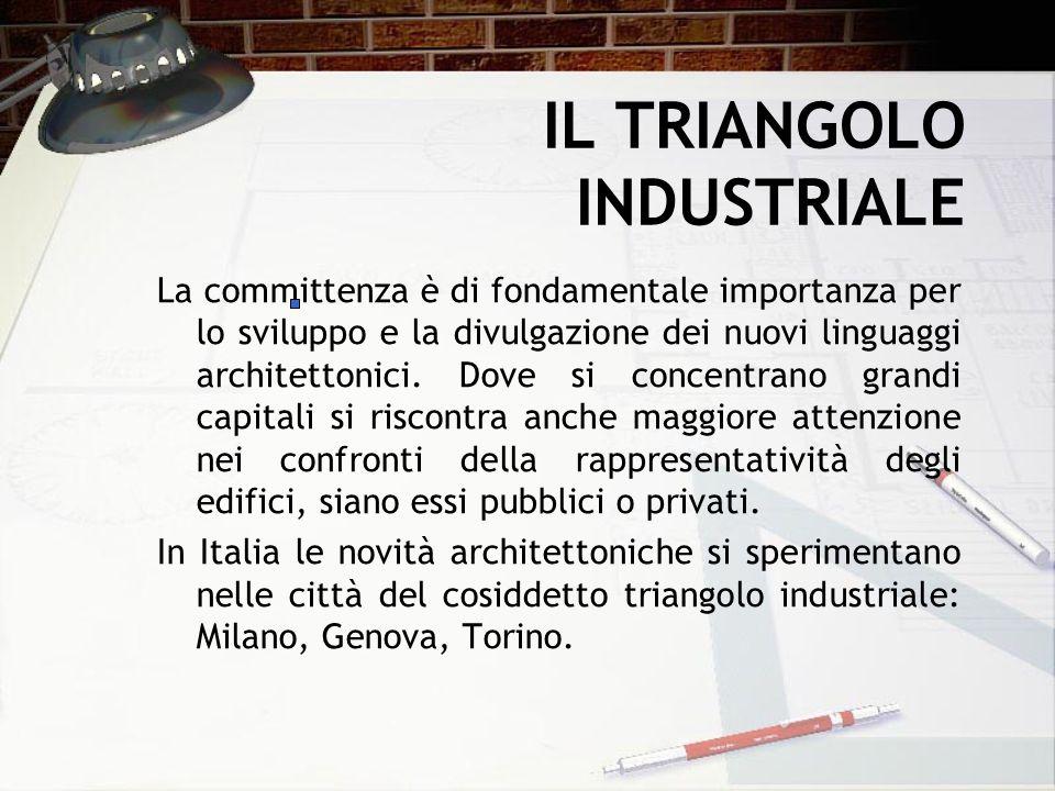 IL TRIANGOLO INDUSTRIALE La committenza è di fondamentale importanza per lo sviluppo e la divulgazione dei nuovi linguaggi architettonici. Dove si con