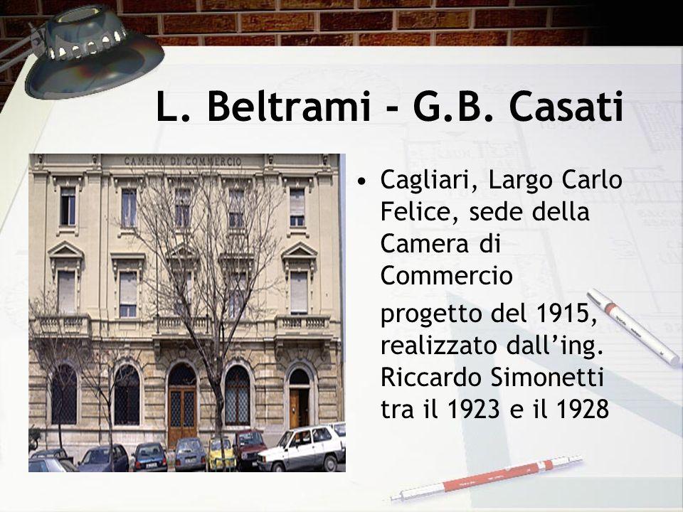 L. Beltrami - G.B. Casati Cagliari, Largo Carlo Felice, sede della Camera di Commercio progetto del 1915, realizzato dalling. Riccardo Simonetti tra i