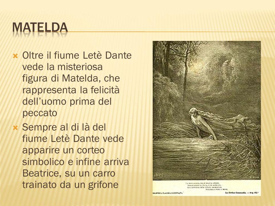 Oltre il fiume Letè Dante vede la misteriosa figura di Matelda, che rappresenta la felicità delluomo prima del peccato Sempre al di là del fiume Letè