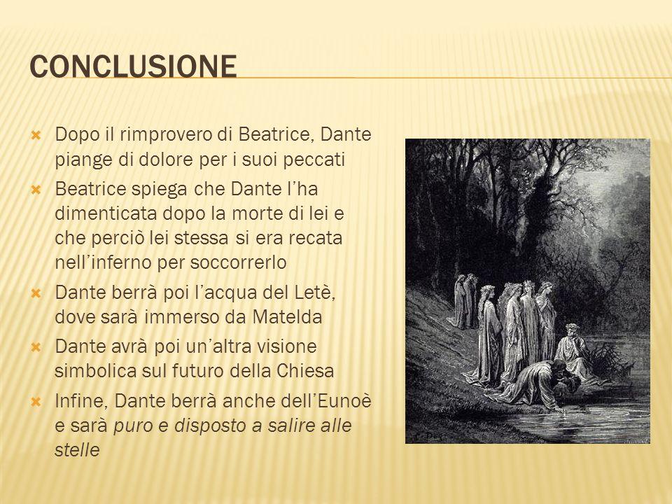 CONCLUSIONE Dopo il rimprovero di Beatrice, Dante piange di dolore per i suoi peccati Beatrice spiega che Dante lha dimenticata dopo la morte di lei e