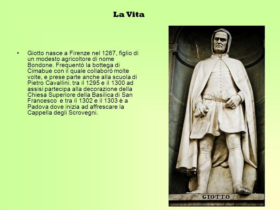 La Vita Giotto nasce a Firenze nel 1267, figlio di un modesto agricoltore di nome Bondone. Frequentò la bottega di Cimabue con il quale collaborò molt