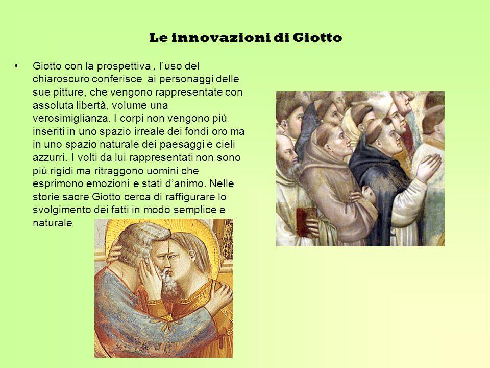 Le innovazioni di Giotto Giotto con la prospettiva, luso del chiaroscuro conferisce ai personaggi delle sue pitture, che vengono rappresentate con ass
