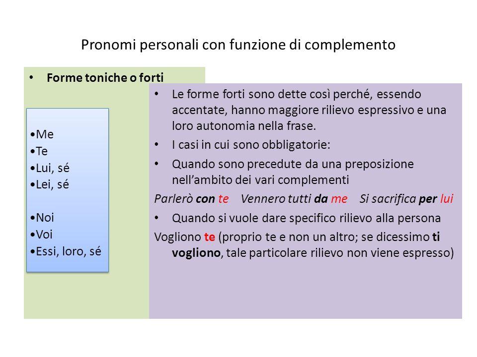Pronomi personali con funzione di complemento Forme toniche o forti Le forme forti sono dette così perché, essendo accentate, hanno maggiore rilievo e