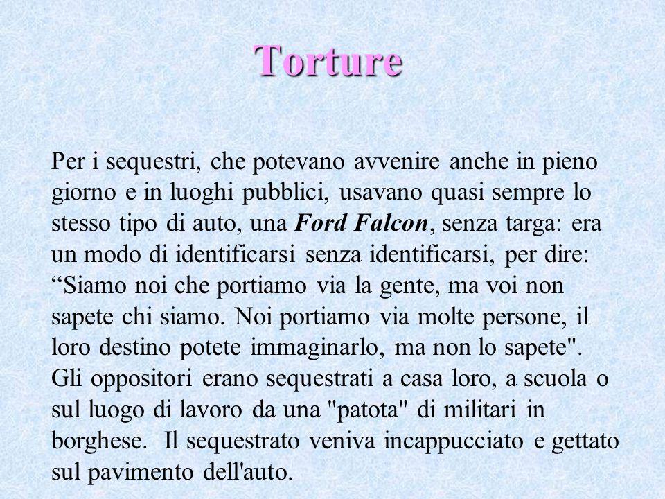 Torture Per i sequestri, che potevano avvenire anche in pieno giorno e in luoghi pubblici, usavano quasi sempre lo stesso tipo di auto, una Ford Falco