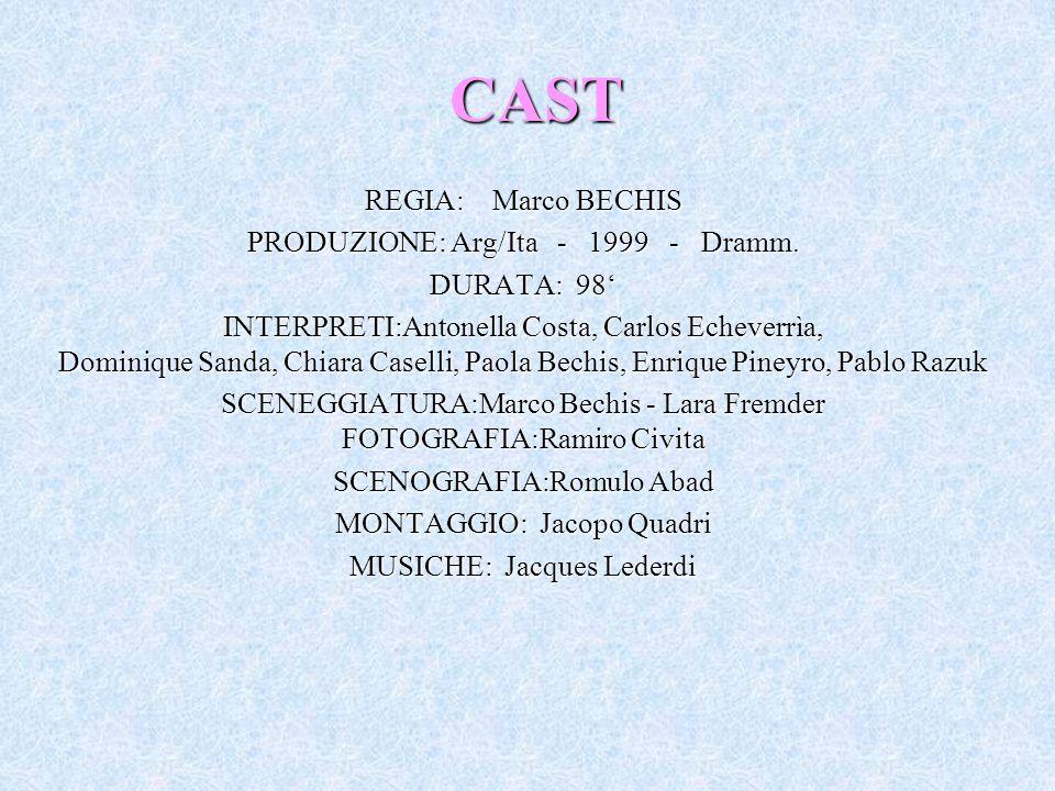 CAST REGIA: Marco BECHIS PRODUZIONE: Arg/Ita - 1999 - Dramm. DURATA: 98 INTERPRETI:Antonella Costa, Carlos Echeverrìa, Dominique Sanda, Chiara Caselli