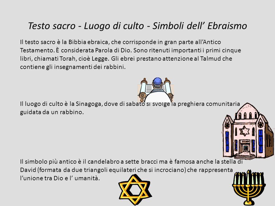 Testo sacro - Luogo di culto - Simboli dell Ebraismo Il testo sacro è la Bibbia ebraica, che corrisponde in gran parte allAntico Testamento.