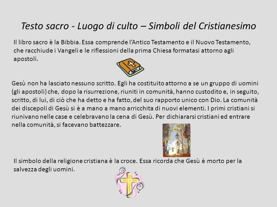 Testo sacro - Luogo di culto – Simboli del Cristianesimo Il libro sacro è la Bibbia.