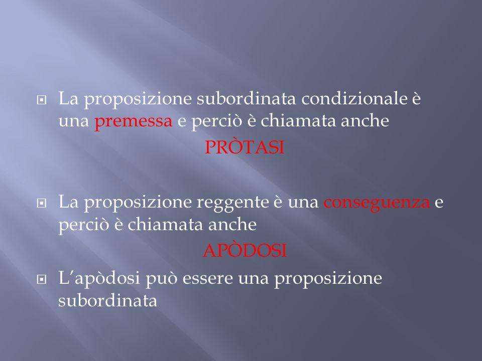 La proposizione subordinata condizionale è una premessa e perciò è chiamata anche PRÒTASI La proposizione reggente è una conseguenza e perciò è chiama