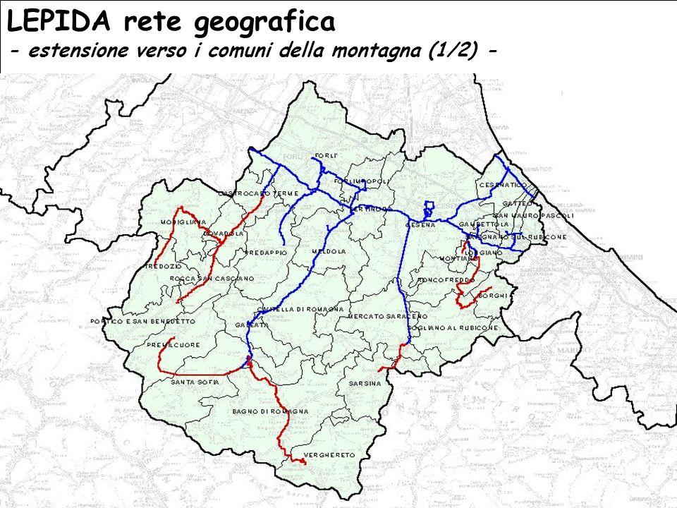 GIS day – Forlì 23 novembre 2006 La riproduzione anche parziale del presente documento è vietata senza espresso consenso della Provincia di Forlì - Cesena OBIETTIVO CONNETTIVITA LEPIDA rete geografica - estensione verso i comuni della montagna (1/2) -